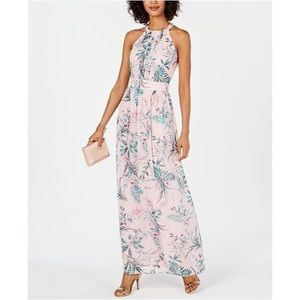 NWOT INC Floral Print High Neck Formal Maxi Dress